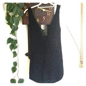 Moda International Open Knit Double V-Neck Tank S